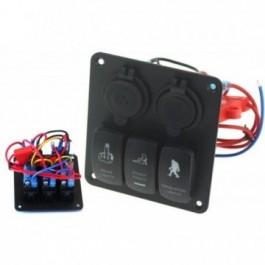 Panel przełączników 12/24V ON-OFFx3, 1xZ, 2xUSB 3,1A, 2xB 15A IP68