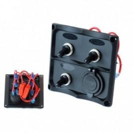 Panel przełączników 12V SPST/ON-OFFx3, 2xUSB, 2B 15A IP68